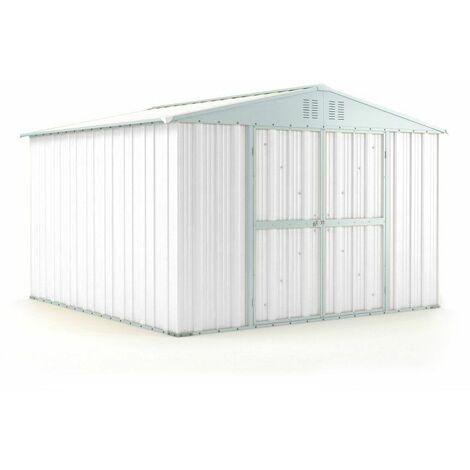 Casetta giardino Box attrezzi in Acciaio Zincato 327x307cm x h2.17m - 145KG - 9,4mq - BIANCO