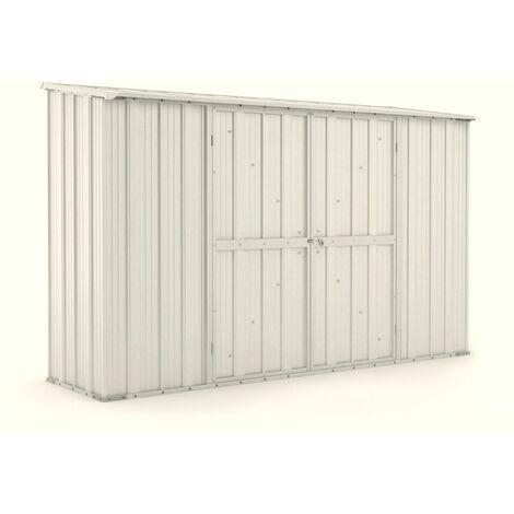 Casetta giardino Box in lamiera di Acciaio Zincato 307x100cm x h1.92m - 75KG - 3.07mq – BIANCO
