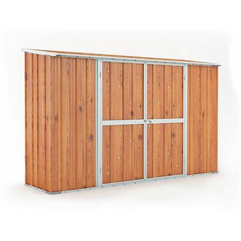 Casetta giardino lamiera Box in Acciaio Zincato 307x100cm x h1.92m - 75KG - 3.07mq – LEGNO