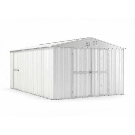Casetta in acciaio deposito Box in lamiera Zincato 327x459cm x h217cm - 201KG - 15,01mq - BIANCO