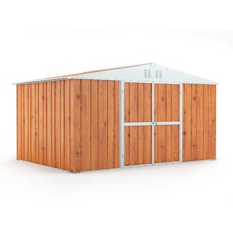 Casetta in lamiera deposito attrezzi da giardino Box in Acciaio Zincato 403x269 cm x h 217 cm - 149KG - 10,84 mq - LEGNO