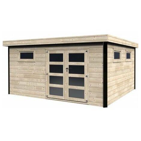 Casetta in legno tetto piano modello Evelin 28mm di spessore, 4,50x4 m, 18m²