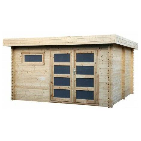Casetta in legno tetto piano modello Plodovie 28mm di spessore, 3,86x3,86 m, 14,90m²
