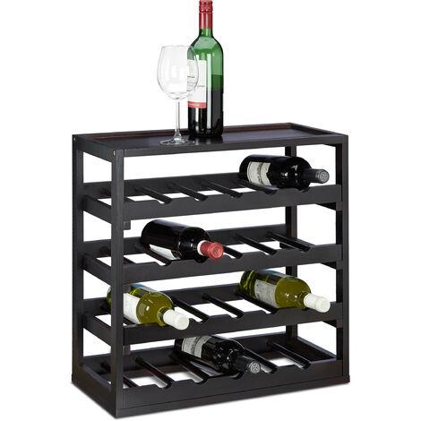 Casier à bouteilles de vin en bois étagère à vin H x l x P: 52 x 52 x 25 cm porte-bouteilles robuste range-bouteilles avec 4 étages de 5 bouteilles pour 20 bouteilles, noir