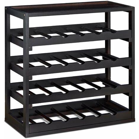 Casier à bouteilles de vin en bois étagère à vin noir 52 cm