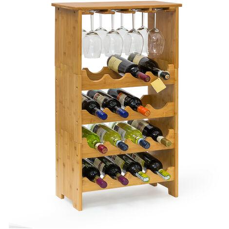 Casier à bouteilles de vin Étagère à vin en bambou HxlxP : 84 x 50 x 24 cm range-bouteilles horizontal pour 16 bouteilles porte-bouteilles en bois avec porte-verres pour 12 verres, nature