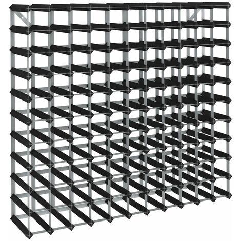 Casier à bouteilles pour 120 bouteilles Noir Bois de pin solide