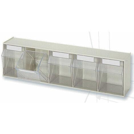 Casier à tiroirs basculants - 600 x 133 x H164 mm - BEIGE - 5 tiroirs Multiroir - Beige