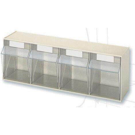 Casier à tiroirs basculants - 600 x 168 x H207 mm - BEIGE - 4 tiroirs Multiroir - Beige