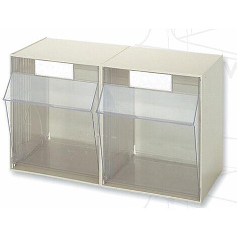 Casier à tiroirs basculants - 600 x 299 x H353 mm - BEIGE - 2 tiroirs Multiroir - Beige