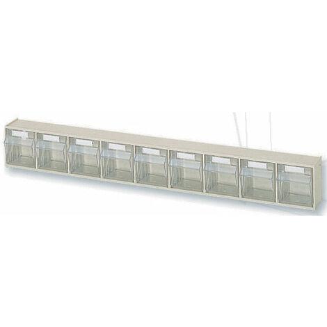 Casier à tiroirs basculants - 600 x 62 x H77 mm - BEIGE - 9 tiroirs Multiroir - Beige