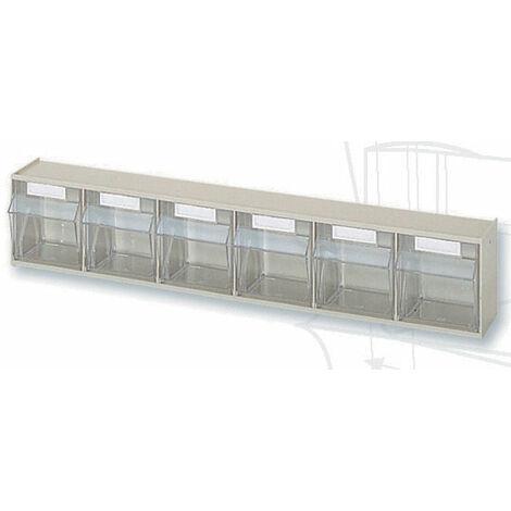 Casier à tiroirs basculants - 600 x 91 x H113 mm - BEIGE - 6 tiroirs Multiroir - Beige