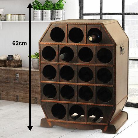Casier à vin dans le style colonial rangement boîte décoration bois bouteilles métal brun Harms 304007