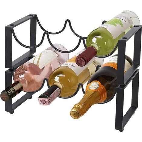 Casier à vin en métal autoportant à 2 niveaux 6 bouteilles, pour bar, maison
