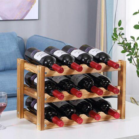 Casier A Vin Etagere A Bouteille Rangement 12 Bouteille En Walnut Cw241229t