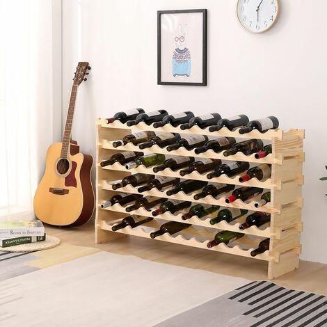 Casier à Vin Étagère à Bouteille Rangement 72 Bouteille en Bambou - Bois couleur