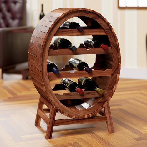 Casier Cave à vin Etagère à vin en bois d'acacia oenologie Porte-bouteilles stockage 12 bouteilles look baril tonneau