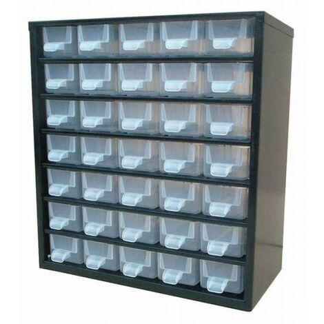 Casier de rangement métallique 35 tiroirs - Noir