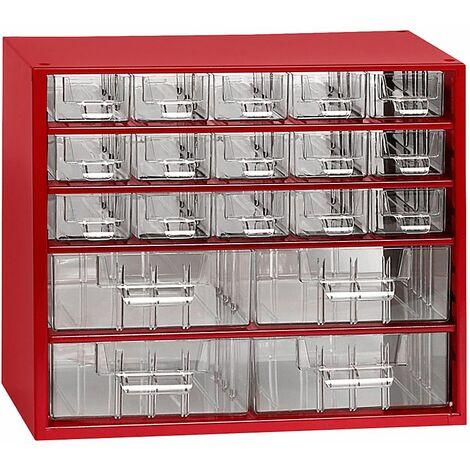 Casier de rangement pour vis | Bloc-tiroirs | HxLxP 282 x 306 x 155 mm | 19 compartiments | Rouge carmin | Certeo - Coloris du boîtier: rouge carmin RAL 3002