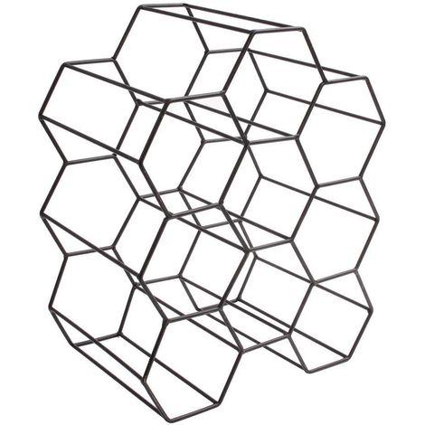 Casier filaire nid d'abeille 9 bouteilles en métal noir 29.5 x 20 x 36 cm