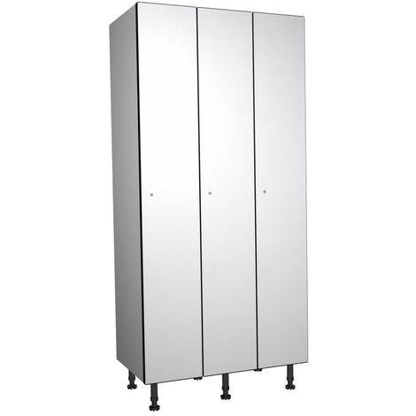Casier Phénolique, 1 Porte 3 Colonnes, 905x1800x500 mm, Serradure À clé Blanc