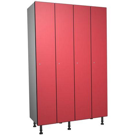 Casier Phénolique, 1 Porte 4 Colonnes, 1200x1800x500 mm, Serradure À clé Rouge