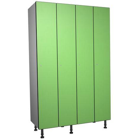 Casier Phénolique, 1 Porte 4 Colonnes, 1200x1800x500 mm, Serradure À clé Vert