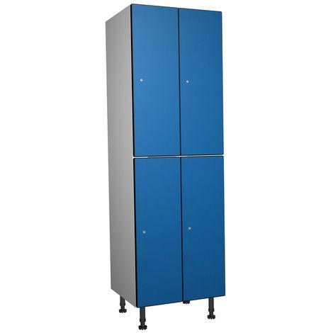 Casier Phénolique, 2 Portes 2 Colonne, 612x1800x500 mm, Serradure À clé Bleu