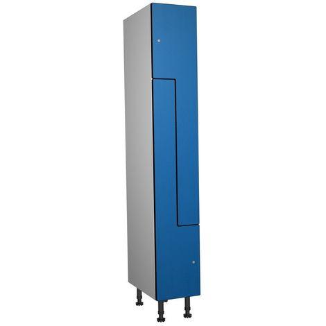 Casier Phénolique, 2 Portes Z, 317x1800x500 mm, Serrure À clé Bleu