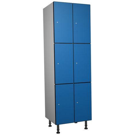 Casier Phénolique, 3 Portes 2 Colonne, 612x1800x500 mm, Serradure À clé Bleu