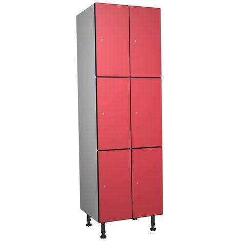 Casier Phénolique, 3 Portes 2 Colonnes, 612x1800x500 mm, Serradure À clé Rouge