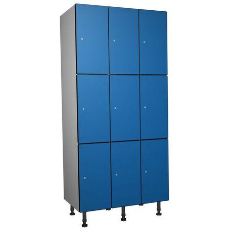 Casier Phénolique, 3 Portes 3 Colonnes, 905x1800x500 mm, Serradure À clé Bleu