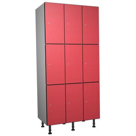 Casier Phénolique, 3 Portes 3 Colonnes, 905x1800x500 mm, Serradure À clé Rouge