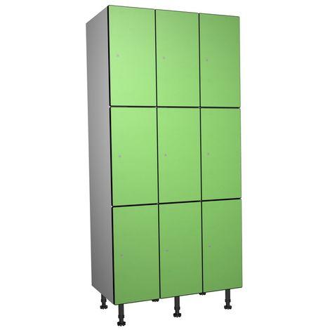 Casier Phénolique, 3 Portes 3 Colonnes, 905x1800x500 mm, Serradure À clé Vert