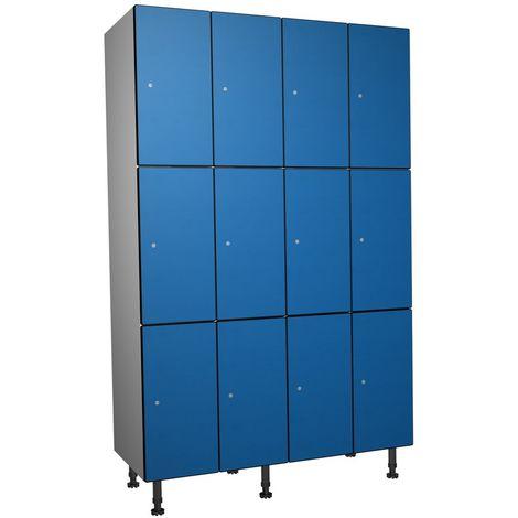 Casier Phénolique, 3 Portes 4 Colonnes, 1200x1800x500 mm, Serradure À clé Bleu