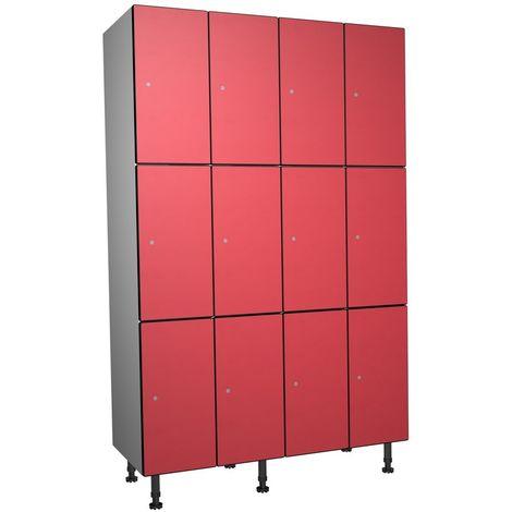 Casier Phénolique, 3 Portes 4 Colonnes, 1200x1800x500 mm, Serradure À clé Rouge