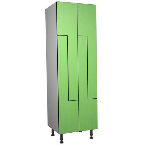 Casier Phénolique, 4 Portes Z, 612x1800x500 mm, Serrure À clé Vert