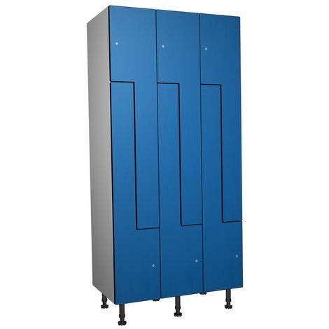 Casier Phénolique, 6 Portes Z, 905x1800x500 mm, Serradure À clé Bleu