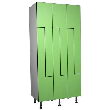 Casier Phénolique, 6 Portes Z, 905x1800x500 mm, Serradure À clé Vert