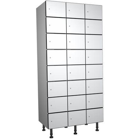 Casier Phénolique, 8 Portes 3 Colonnes, 905x1800x500 mm, Serradure À clé Blanc
