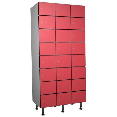 Casier Phénolique, 8 Portes 3 Colonnes, 905x1800x500 mm, Serradure À clé Rouge