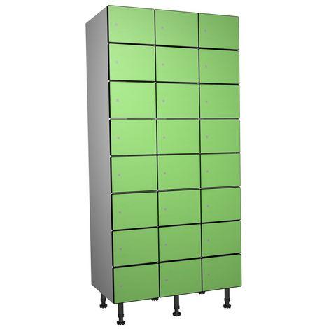 Casier Phénolique, 8 Portes 3 Colonnes, 905x1800x500 mm, Serradure À clé Vert
