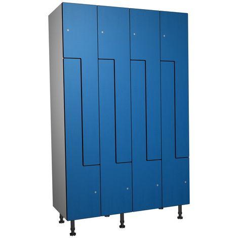 Casier Phénolique, 8 Portes Z, 1200x1800x500 mm, Serrure À clé Bleu