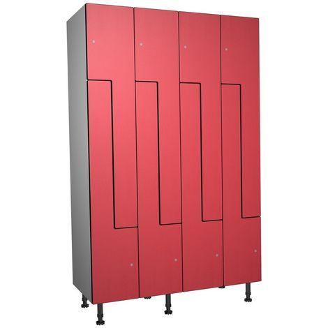 Casier Phénolique, 8 Portes Z, 1200x1800x500 mm, Serrure À clé Rouge