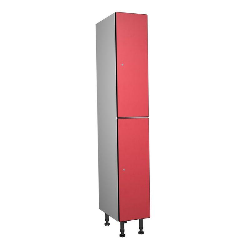 Taquillea - Casier Phénolique, 2 Portes 1 Colonne, 317x1800x500 mm, Serrure À clé Rouge