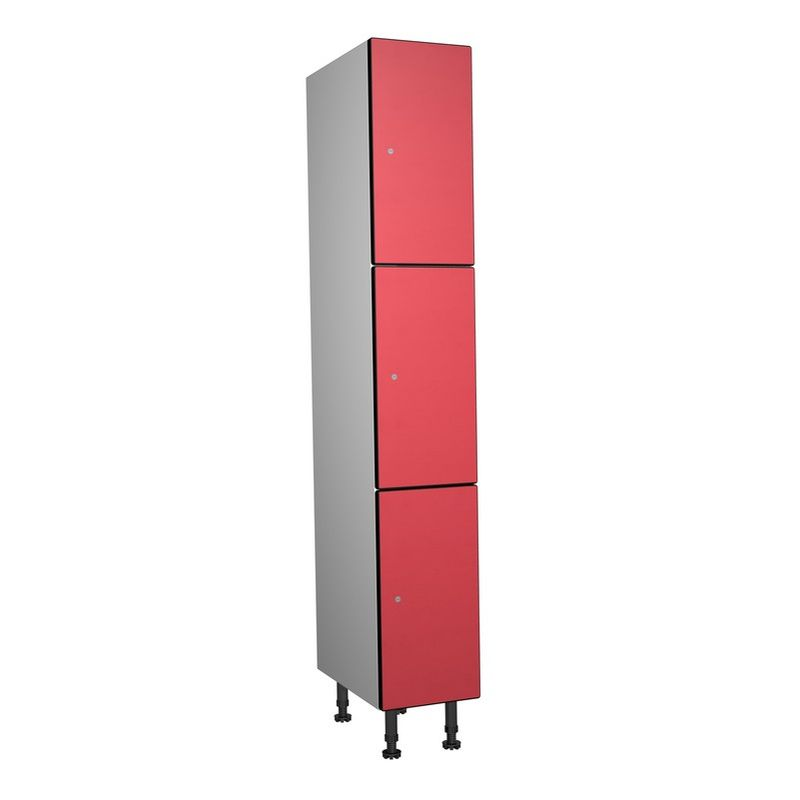 Taquillea - Casier Phénolique, 3 Portes 1 Colonne, 317x1800x500 mm, Serrure À clé Rouge