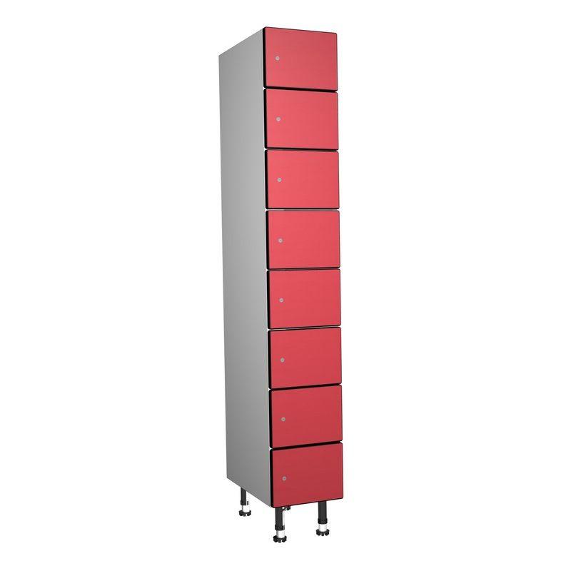 Taquillea - Casier Phénolique, 8 Portes 1 Colonne, 317x1800x500 mm, Serrure À clé Rouge