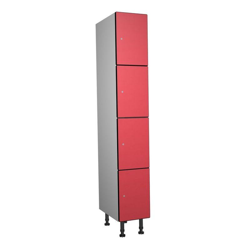 Taquillea - Casier Phénolique,4 Portes 1 Colonne, 317x1800x500 mm, Serrure À clé Rouge