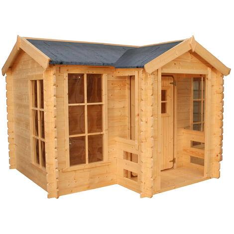 Casita de Madera Infantil Outdoor Toys Mika 241x175,5x135 cm con Porche