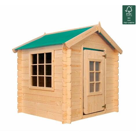 Casita Infantil de Madera Gretel 1.10m2 - 105x105x121cm. Casa para niños de Jardin